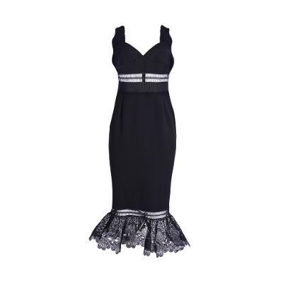 see through mermaid long dress black